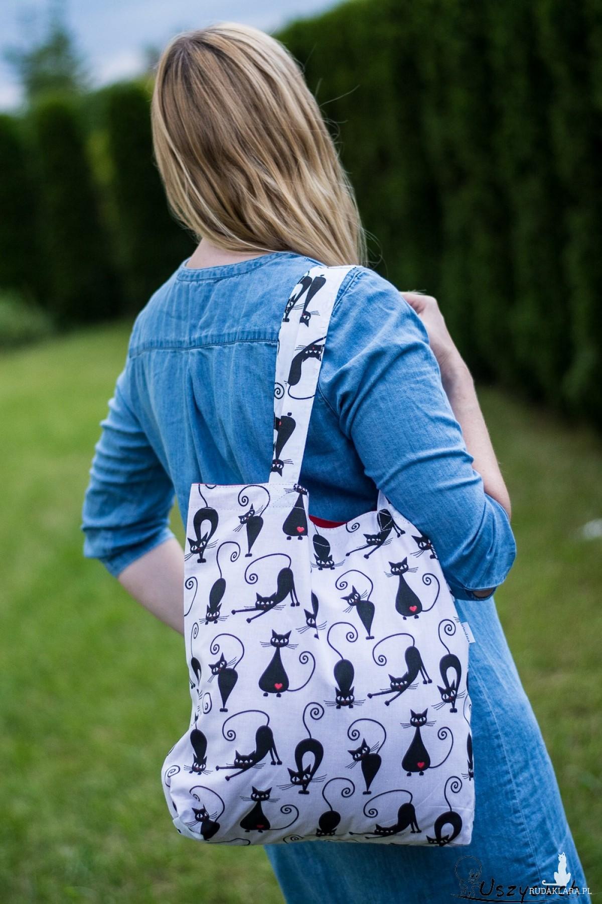 Torba na zakupy shopperka ekologiczna torba zakupowa na ramię eko siatka panda