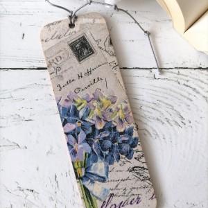 Zakładka do książki - bukiet kwiatów, listy