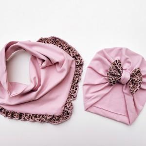 Zestaw turban i chusta w pudrowym różu z dodatkiem panterki