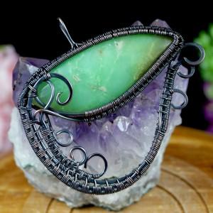 Miedziany wisior z awenturynem, ręcznie wykonany, prezent dla niej prezent dla niego, prezent urodzinowy, oryginalna biżuteria autorska, oko