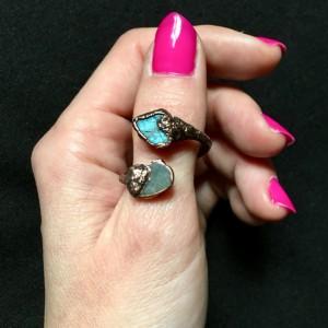 pierścionek labradoryt zawijany