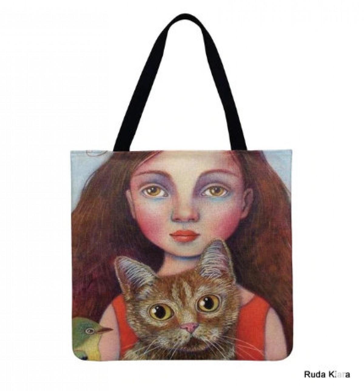 torba shopperka drukowana dwustronnie motyw kocham koty
