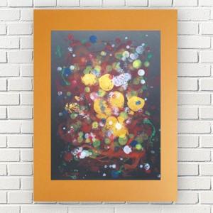 abstrakcja w ciepłych kolorach, nowoczesna grafika do pokoju, oryginalna dekoracja na ścianę