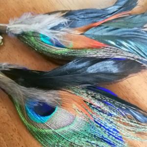 klipsy pióra długie lekkie niebiesko brazowo-rude- pawie pióra