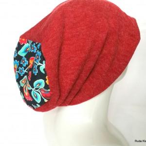 czapka damska bordowa wiosenna dobra na dredy