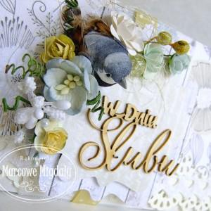 Ślubna kopertówka z ptaszkiem