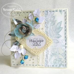Kartka ślubna z turkusem
