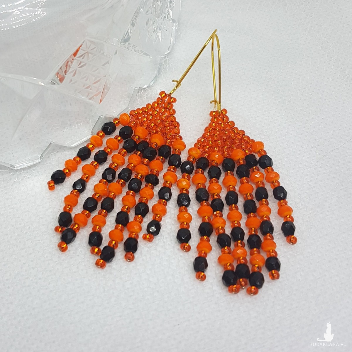 Kolczyki Frędzelki Małe Orange Black