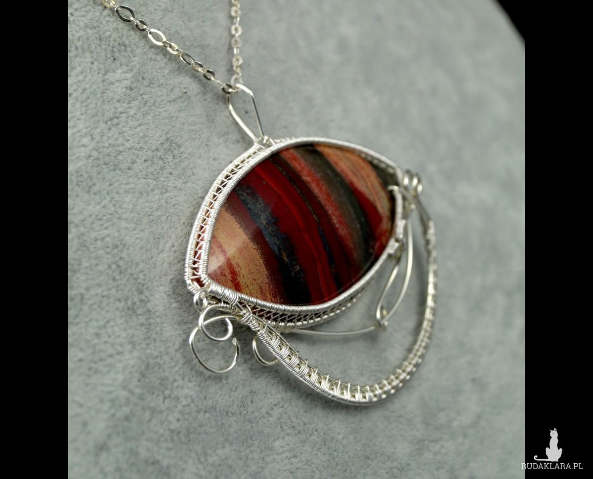Jaspis, Srebrny wisior z jaspisem czerwono brązowym, ręcznie wykonany, prezent dla niej, prezent dla mamy, prezent urodzinowy, biżuteria