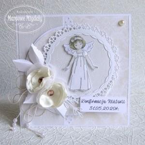 Kartka z okazji Konfirmacji z dziewczynką, personalizowana
