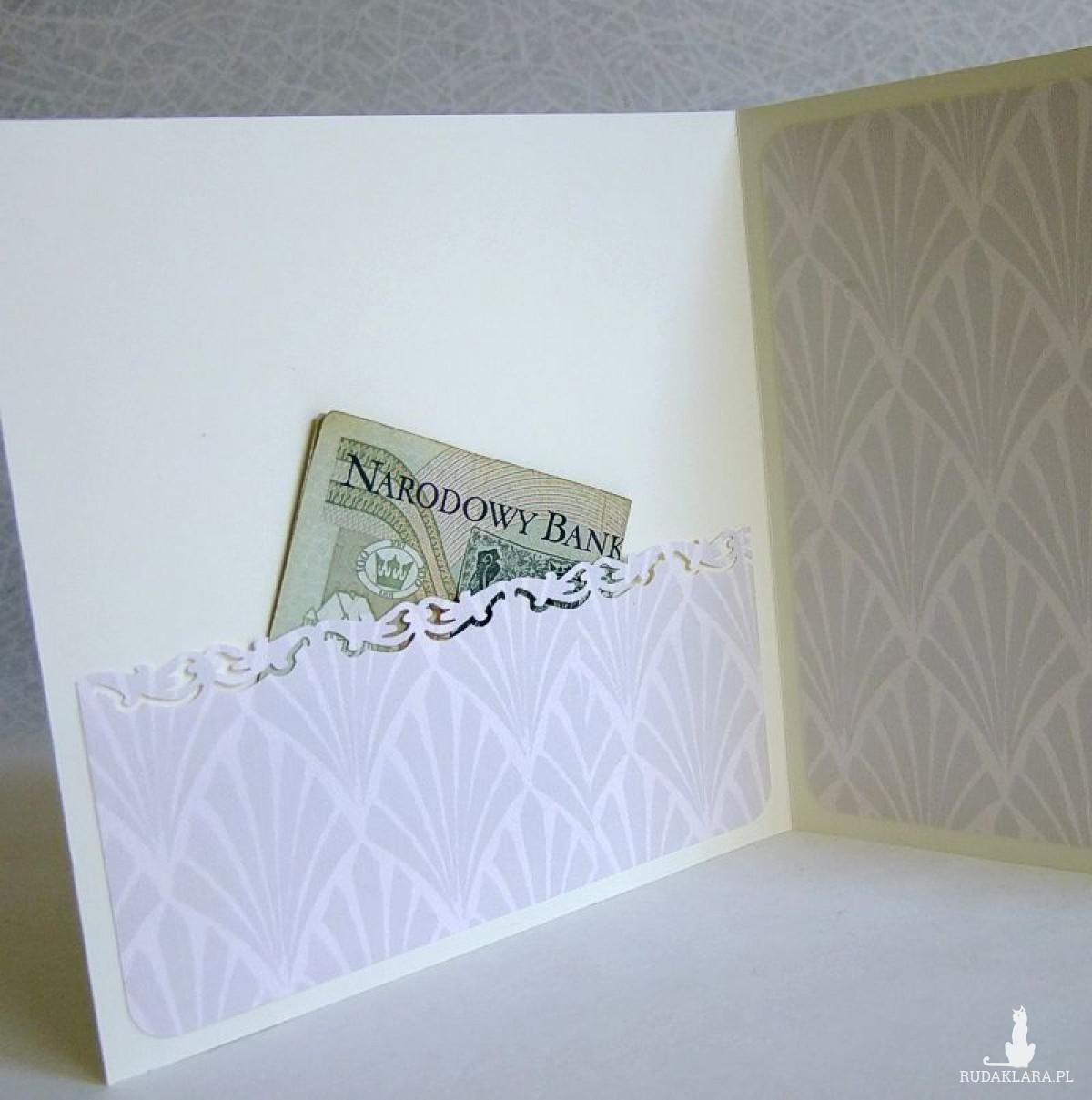 Kartka z okazji Konfirmacji lub Komunii Świętej z ażurowym sercem, z kieszonką na banknoty