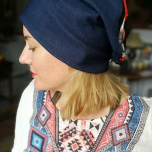 czapka wiosenna uniwersalna damska boho z koronką
