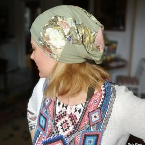 czapka wiosenna patchworkowa damska boho na mniejsza głowę