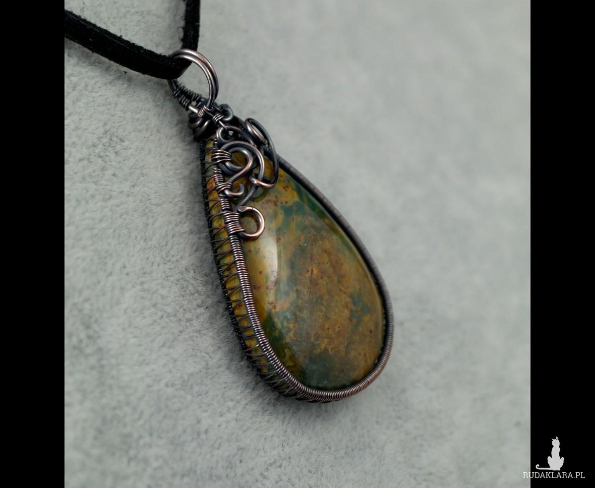 Kamień krwisty, Miedziany wisior z kamieniem krwistym, heliotrop, ręcznie wykonany, prezent dla niej, prezent dla mamy, prezent urodzinowy