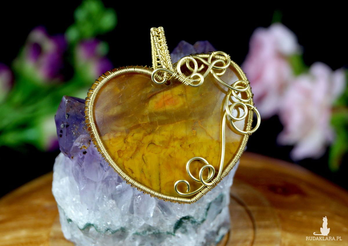 Pietersyt, Mosiężny wisior z pietersytem, ręcznie wykonany, prezent dla niej, prezent dla mamy, prezent urodzinowy, serce, wire wrapped