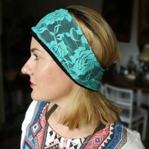opaska koronkowa kolor turkus mięta wiosenna