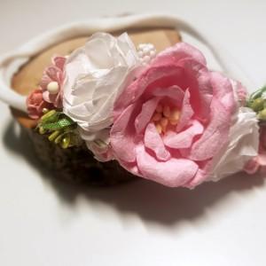 Pastelowa opaska z perełką