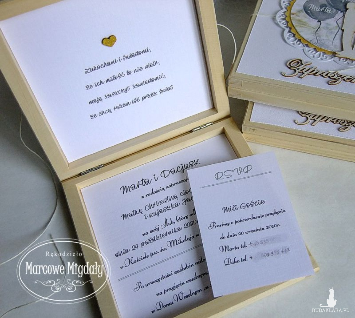 Zaproszenie na ślub dla Matki, Ojca Chrzestnych w drewnianym pudełku.