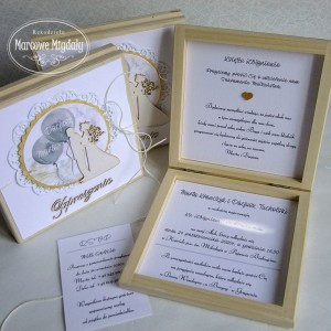 Zaproszenie-Prośba o błogosławieństwo w drewnianym pudełku