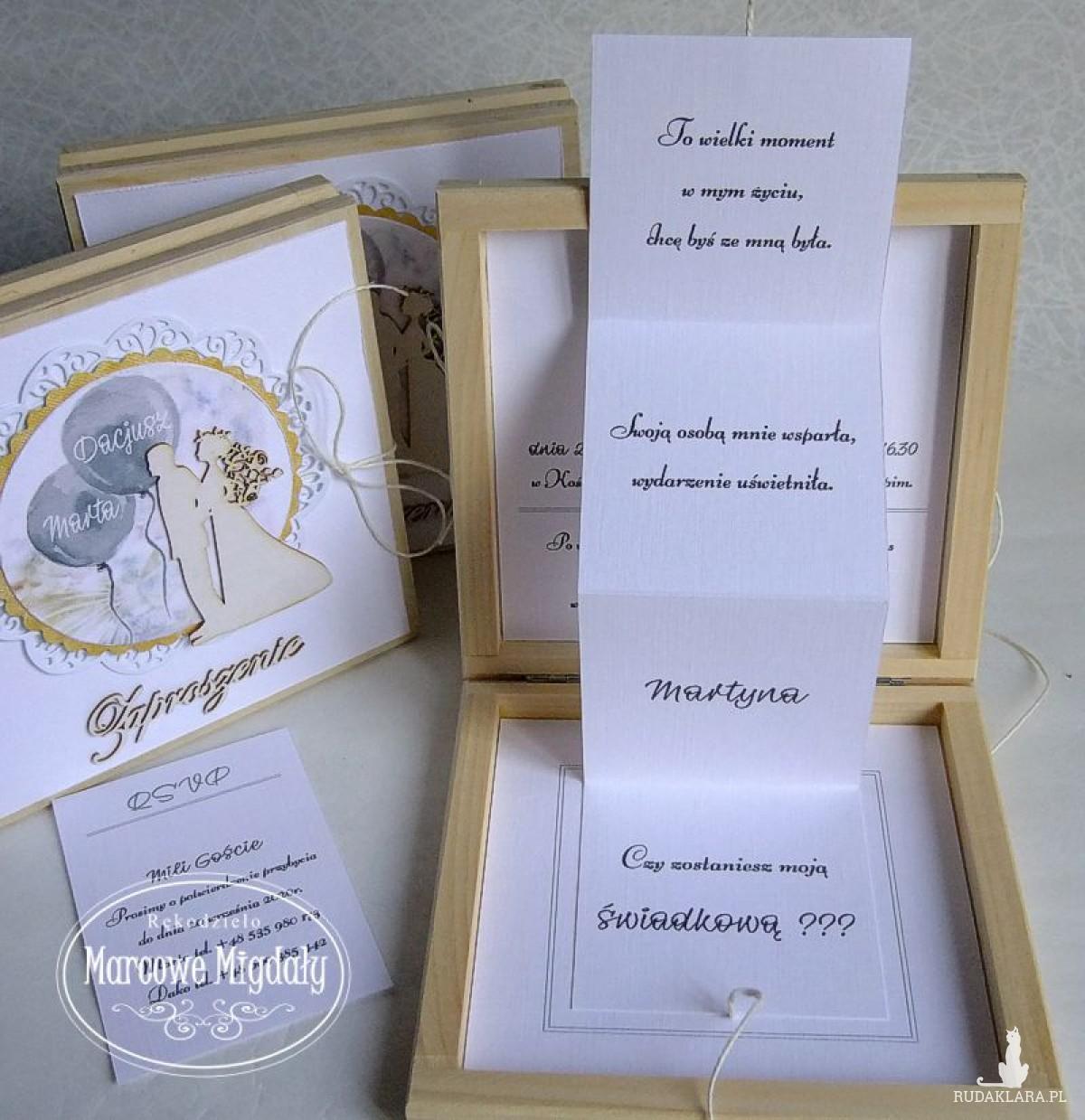 Zaproszenie na ślub-Prośba o świadkowanie w drewnianym pudełku