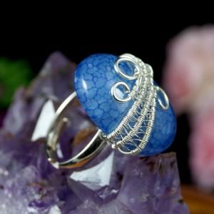 Agat, Srebrny pierścionek z agatem dragon vein regulowany, prezent dla niej prezent dla mamy, prezent dla kobiety handmade pomysł na prezent