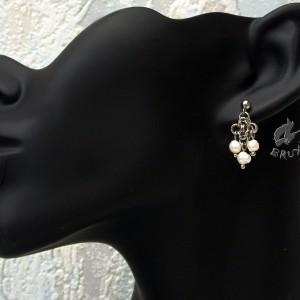 Kolczyki chainmaille z naturalnymi perłami