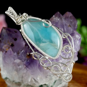 Lariamr niebieski, Srebrny wisiorek z larimarem, ręcznie wykonany, prezent dla niej, prezent dla mamy, prezent urodzinowy, autorska