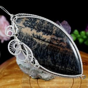 Opal dendrytowy, Srebrny wisior z opalem, ręcznie wykonany, prezent dla niej, prezent dla mamy, prezent urodzinowy, biżuteria, duży wisior