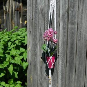 Makrama wisząca na kwiaty, duża makrama, dekoracja na taras
