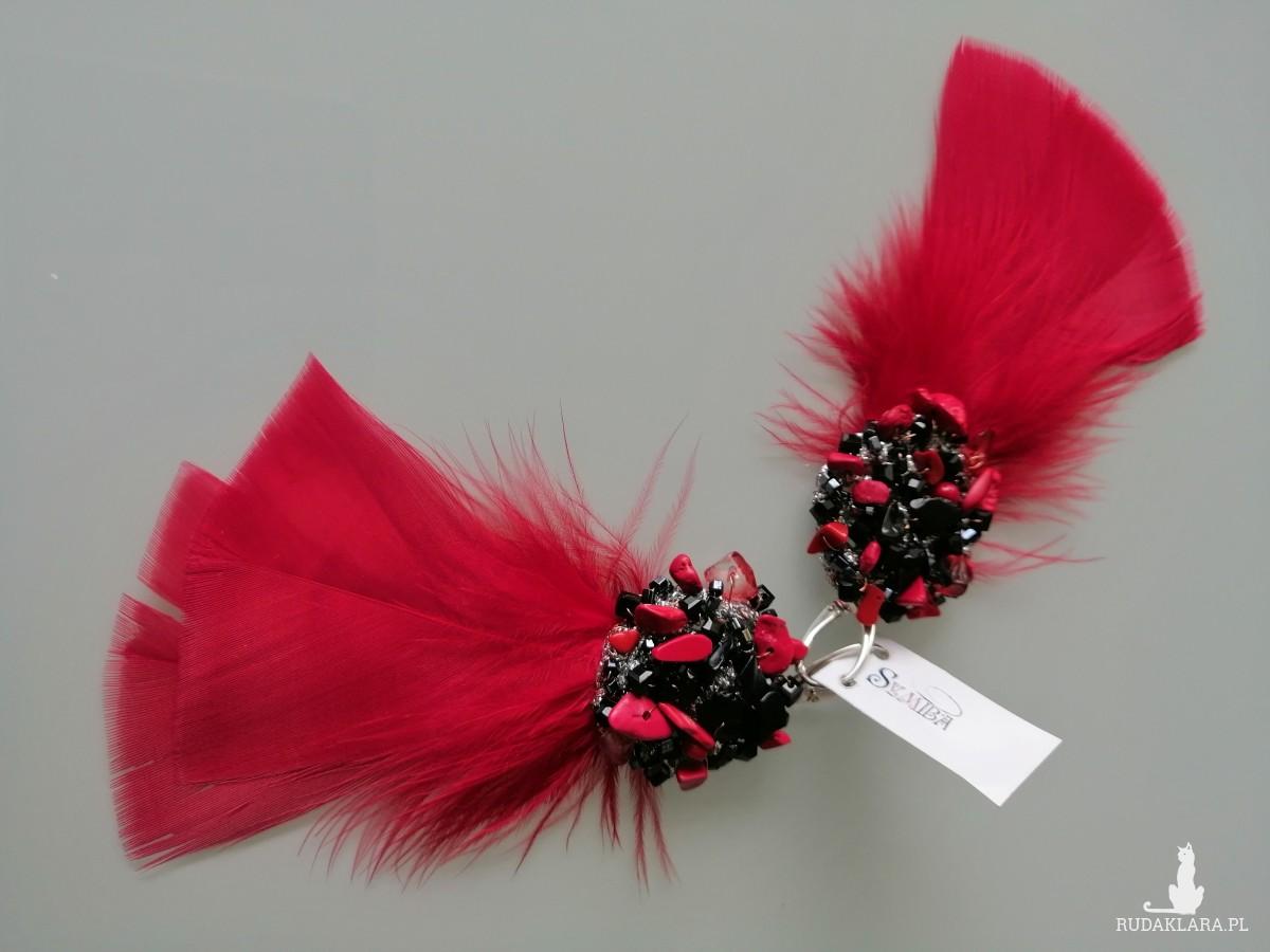 Kolczyki Czerwono Czarne