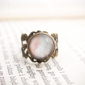 Retro pierścionek z ręcznie malowanym szkłem