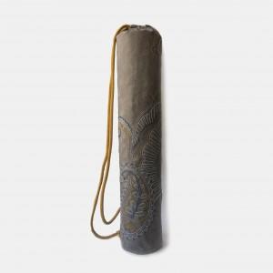Szary pokrowiec na matę do jogi z haftem