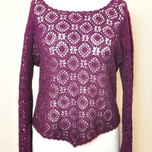 Szydełkowy ażurowy sweterek, bluzka, kolor śliwkowy, vintage, styl boho, efektowna bluzka, (1)