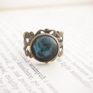 Retro pierścionek z malowanym szkłem - zorza polarna