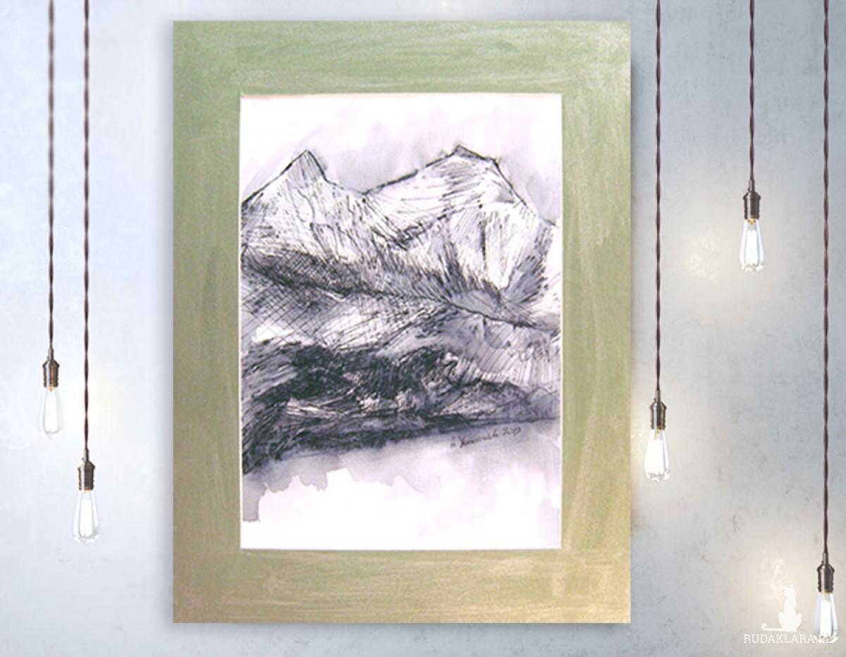 Czarno biały rysunek krajobraz górski nr 16, pejzaż górski obraz,nowoczesna grafika do pokoju