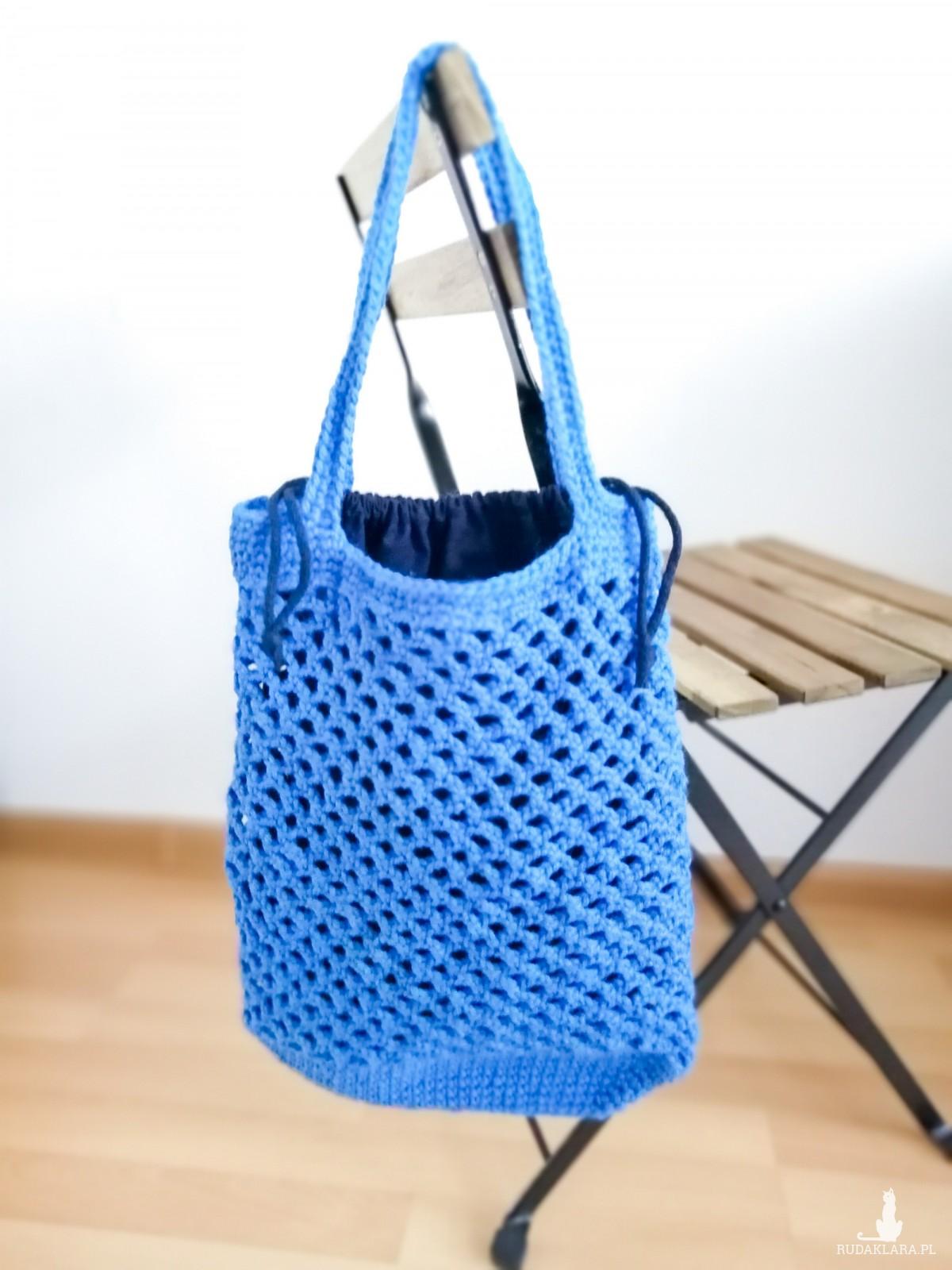 Torba ,siatka na zakupy, niebieska,z organizerem