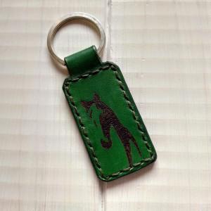 Skórzany brelok w kolorze zielonym