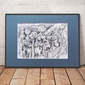 Czarno biały rysunek dziki ogród nr1, grafika do pokoju