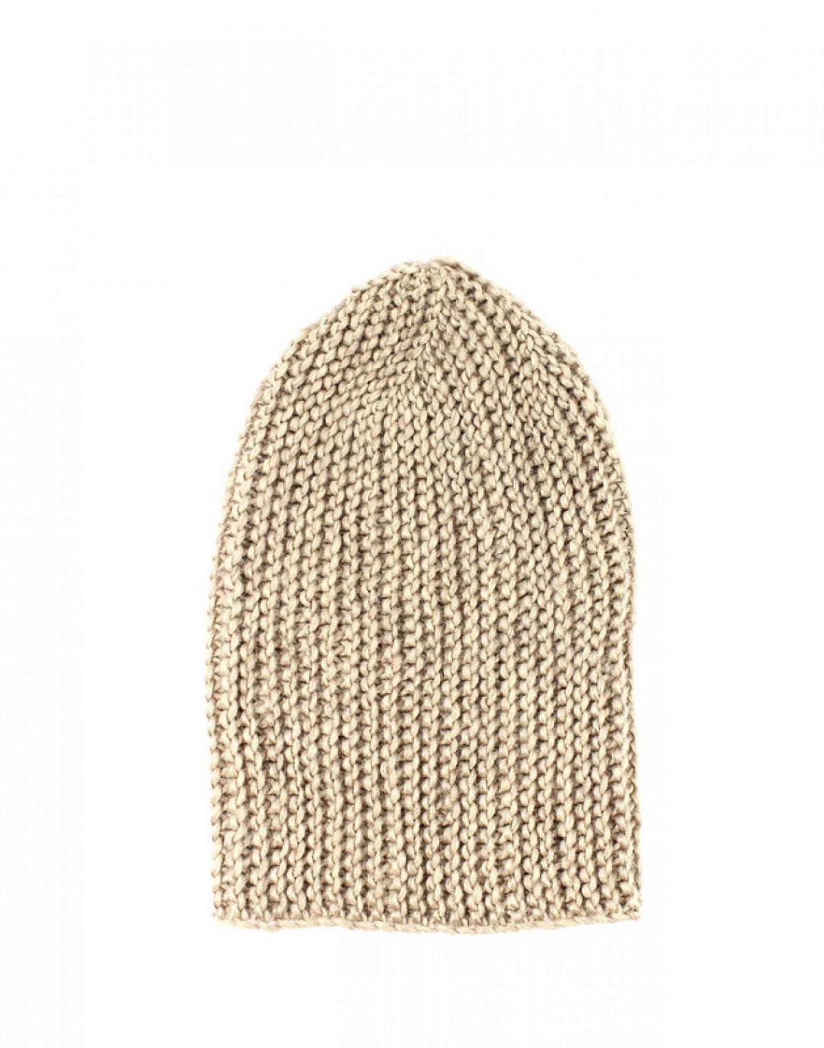 Czapka krasnal beżowa unisex zrobiona na drutach