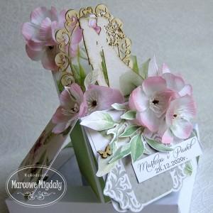 Personalizowana pamiątka ślubu Jabłonie, kartka w pudełku