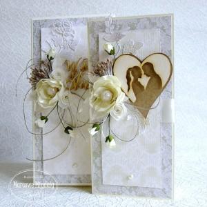 Koronkowa ślubna kartka w pudełku