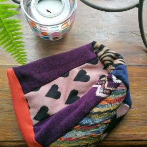 czapka damska smerfetka szyta patchworkowy handmade