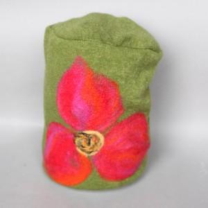 czapka handmade czesanką filcowane czapki wełniane X1