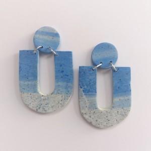 kolczyki granit z niebieskim