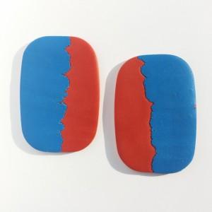 kolczyki duże ceglany z niebieskim