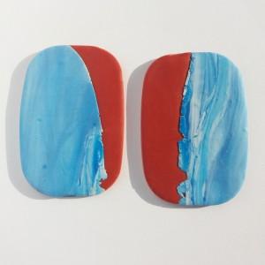 kolczyki duże ceglany z niebieskim marmurkiem