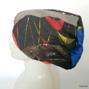 czapka damska smerfetka, szyta patchworkowy.