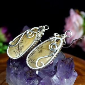 Jaspis dendrytowy, Srebrne kolczyki z jaspisem, ręcznie wykonane, prezent dla niej, prezent dla mamy, na prezent, walentynki, handmade
