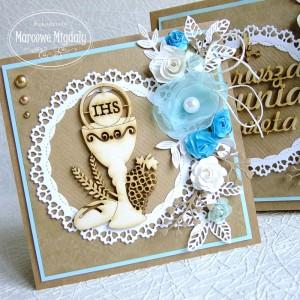 Kartka w pudełku z okazji Komunii Świętej, eko z turkusem