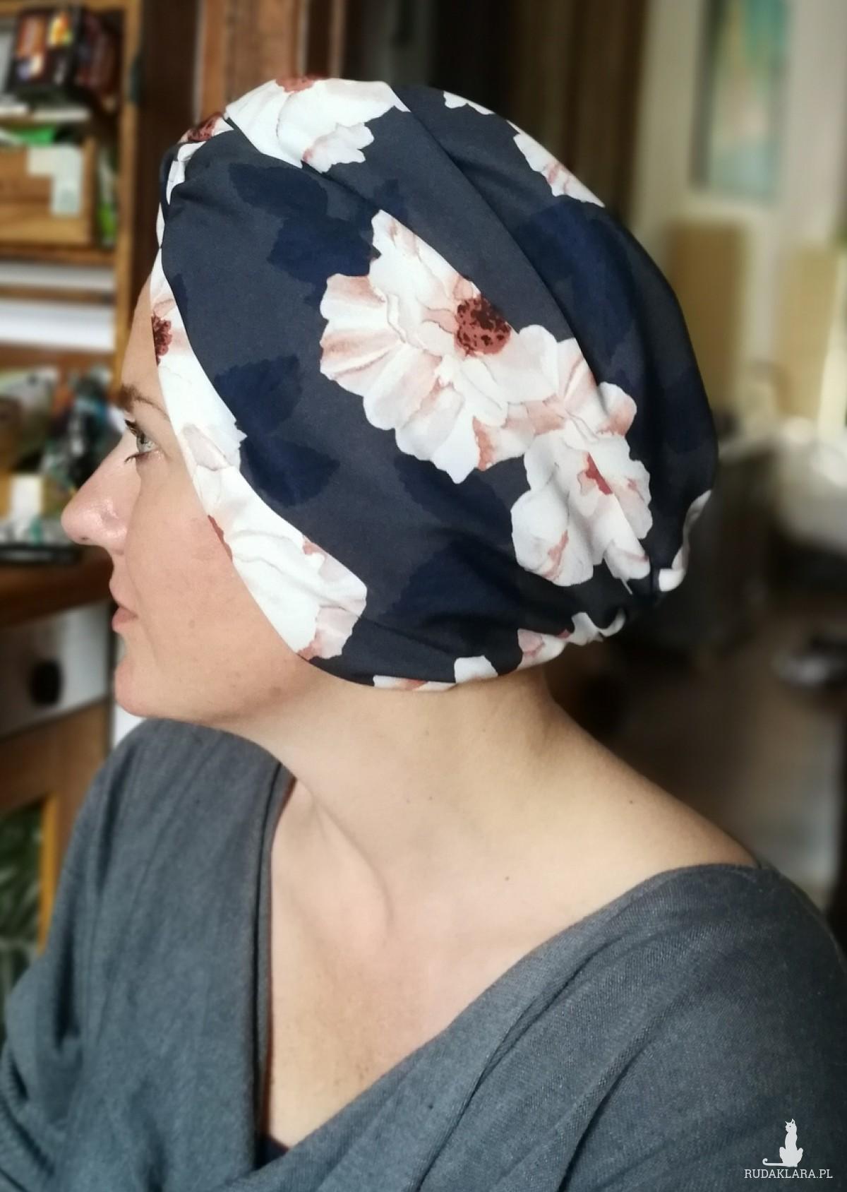 turban damski wiosenny letni w kwiaty handmade
